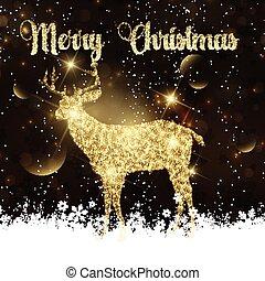 glittery, 鹿, クリスマス, 背景