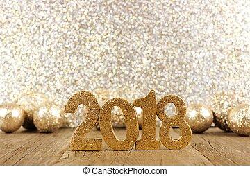 glittery, baubles, eva, jaren, 2018, achtergrond, nieuw, getallen