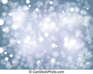 Christmas background of glittery stars and bokeh lights