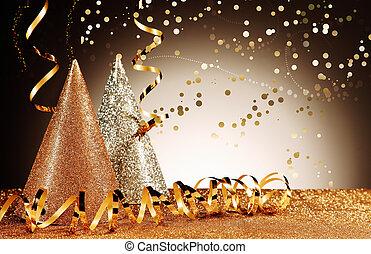 glittery, confetti, chapéus, streamers, efeito