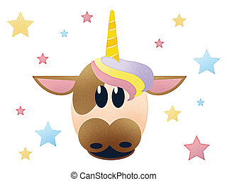 Glittery Cow with Horn and Rainbow Colored Stars Illustration Isolated on White with Clipping Path for Sublimation Design