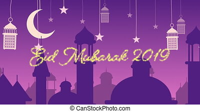 Glittery Eid Mubarak greeting for 2019 with mosques and ...