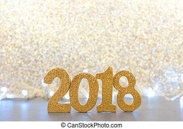 glittery, eva, jaren, lichten, 2018, achtergrond, nieuw, getallen