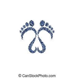 Glittery footsteps vector illustration