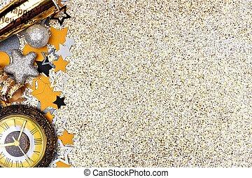 glittery, goud, eva, tegen, jaren, achtergrond, nieuw, grens, bovenkant
