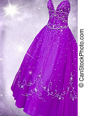 Glittery Gown - Purple gown with sparkling stars on textured...