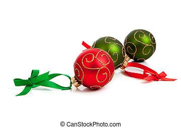 glittery, groene, versieringen, witte kerst, rood