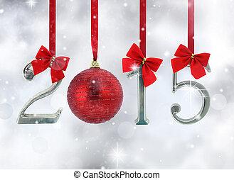 glittery, hintergrund, zahl, verzierungen, hängender , 2015, bänder, rotes
