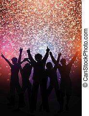 glittery, luci, fondo, folla, festa