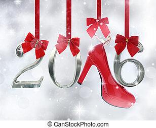 glittery, número, alto, sapato, fundo, penduradas, 2016, fitas, calcanhar, vermelho