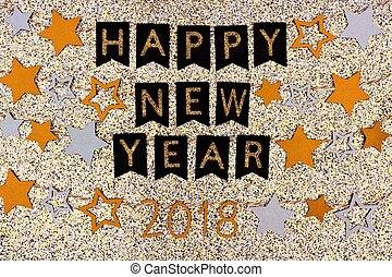 glittery, ouro, texto, contra, 2018, estrelas, ano, novo,...