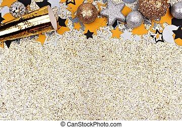 glittery, ouro, topo, véspera, contra, anos, fundo, novo, borda