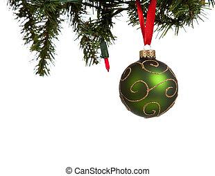 glittery, witte bal, groene, kerstmis