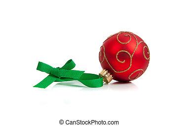 glittery, witte bal, kerstmis, rood