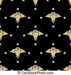 glittter, 金, パターン, seamless, 鳥, 黒い背景, origami, 銀, 点