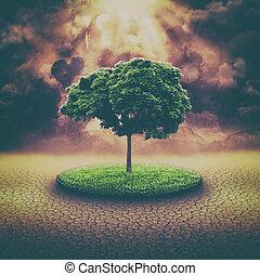 globális, csapás, elvont, környezeti, háttér, noha, explosi