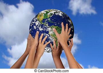 globális, földdel feltölt, jövő, fogalom, anya