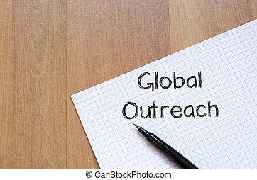 globális, felülmúlni, ír, képben látható, jegyzetfüzet