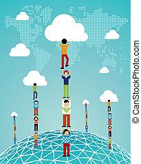 globális, felhő, siker, kiszámít
