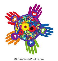 globális, fiatalság, szolgáltatás, nap