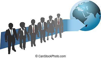 globális, jövő, munka, ügy emberek