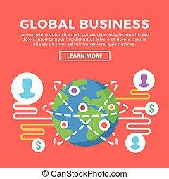 globális, lakás, vektor, tervezés, business.