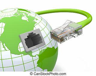 globális, rj45., kábel, communication., földdel feltölt