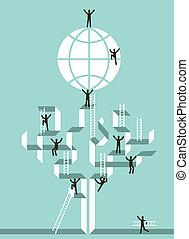 globális, siker, lépcsőház, ügy