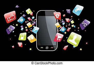 globális, smartphone, loccsanás, apps, ikonok