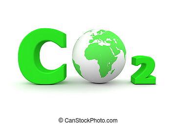 globális, szén-dioxid, co2, -, zöld