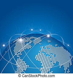 globális, technológia, behálóz, hálózat, vektor
