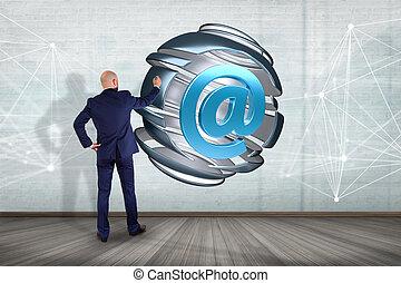 glob, arobase, symbol, -, delad, framförande, främre del, affärsman, visat, 3