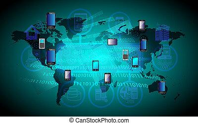 globaal, beweeglijk, technologie, verbinding