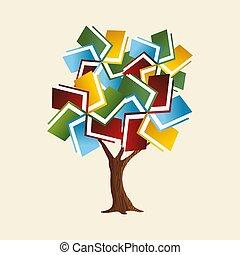 globaal, concept, boompje, boek, opleiding