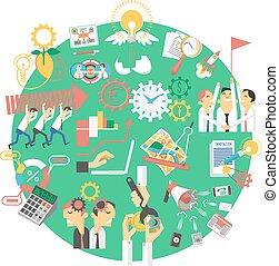 globaal, concept, groene handel, pictogram
