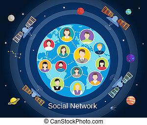globaal, concept, netwerk, sociaal