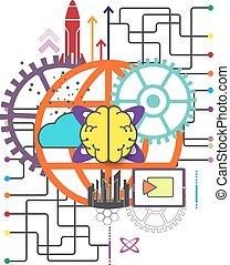 globaal, concept, technologie, netwerk