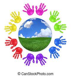globaal, concept, van, kinderen, handprints, rond de wereld