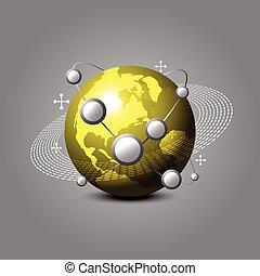 globaal, gouden, concept, communiceren