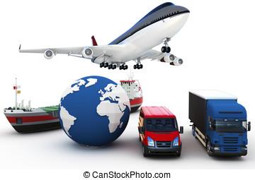 globaal, lading, concept, vervoeren, 3d