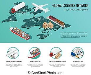 globaal, logistiek, netwerk, plat, 3d, isometric, vector,...