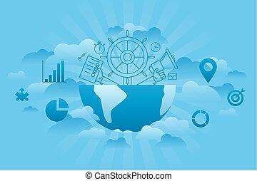 globaal, management, blauwe
