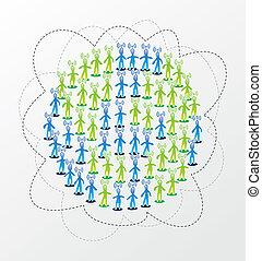 globaal, media, concept, netwerk, sociaal