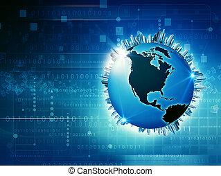 globaal, media, en, informatie, maatschappij, abstract, techno, achtergronden