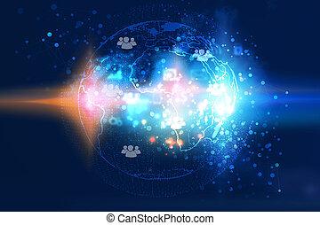 globaal, network., sociaal, netwerk, concept.