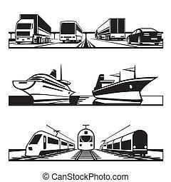 globaal, set, vervoer