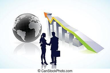 globaal, succes, vector, zakelijk