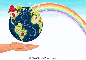globaal, tegen, het verwarmen, vechten