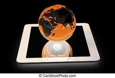globaal, telefoon, earch., concept, internet