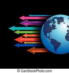 globaal, vector, zakelijk, richtingwijzer